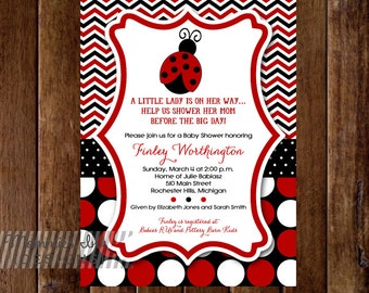 Red and Black Ladybug Chevron with Polka Dots Baby Shower Invitation - Ladybug Baby Shower Invitation - PRINTABLE INVITATION DESIGN