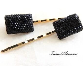 Pave Style Resin Rectange Rhinestone Bobby pins - a pair, Black Rhinestone, Gold Hair pin, Bridesmaids Hair Accessories, Stocking Stuffer