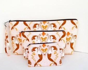 ULTIMATE 3 piece Zipper Pouch Set, MENDOCINO MERMAIDS in Blush PInk, Heather Ross Fabrics