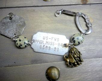 The Dog Catcher Bracelet No. 1. Vintage  Dog Tags, dog collar and dog charm trinket Bracelet, with Dalmatian Jasper ooak unisex