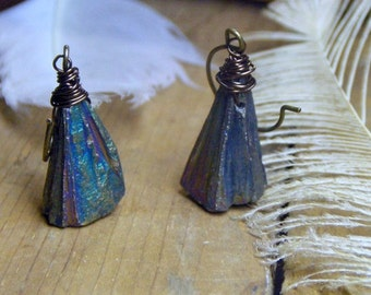 BLUE PEAKS. Mystic Cobalt Titanium Coated Pyrite Rough Pyramid Druzy Drops and rustic oxidized brass earrings handmade BoHO earrings