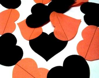 Halloween Heart Banner Garland, Orange Black Heart Banner, Photo Prop