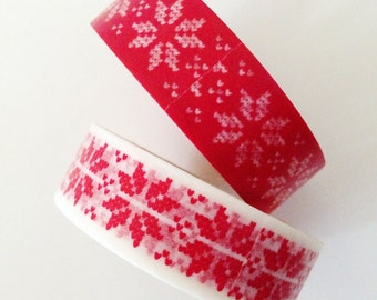 Christmas Washi tape Red STITCH Snowflake Washi Tape Christmas decoration Masking Tape Holiday Gift Wrapping