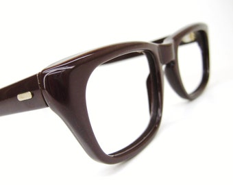 Vintage 1950s Brown Nylon Cateye Eyeglasses Eyewear Frame NOS