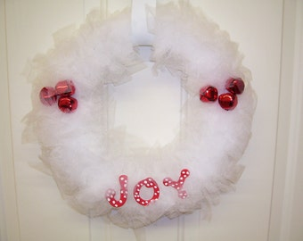 WHITE WREATH JOY 12 inch with red jingle bells