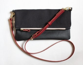 CELINE leather cross body, fold over clutch cross body bag messenger black