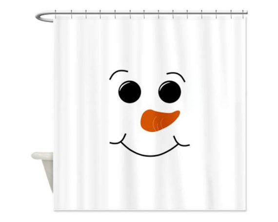 SNOWMAN FACE Kids' Shower Curtain - Children's Bathroom Shower Curtain