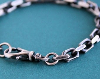 Mens Heavy Chain Bracelet, Oxidized Sterling Silver