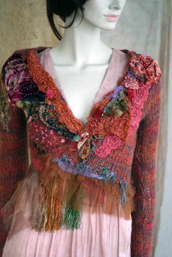 Jungle wrap--  bohemian romantic mohair blend cardi wrap with vintage textiles and hand embroidery