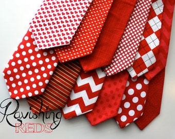 Little and Big Guy Necktie Tie - Ravishing REDS Collection - (Newborn-Adult) - Baby Boy Toddler Teen Man - (Made to Order)- Valentine's Day