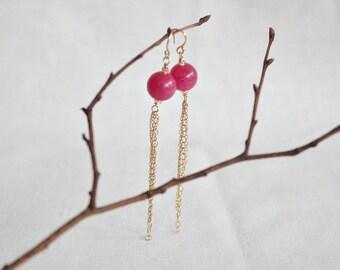 pink jade tassel earrings . azalea
