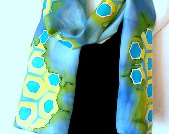 Silk Scarf, Hand Painted Silk Scarf, Honeycomb, Aqua Blue Yellow Green, 100% Silk Scarf, Gift Under 50