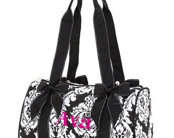 Quilted Damask Small Black and White Duffle Bag Great Dance or Overnight Bag Monogrammed Personalized