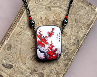 Asian Red Silkscreen Picture Pendant
