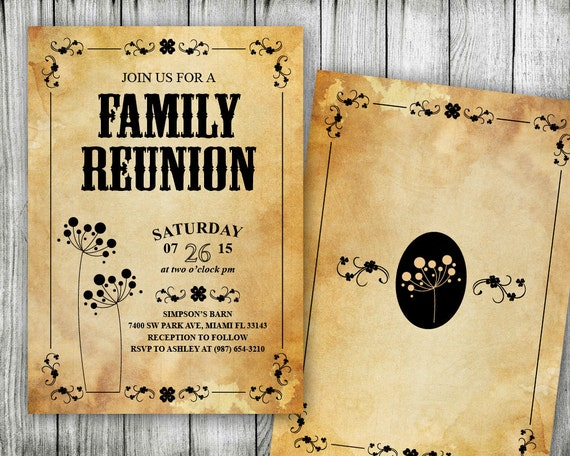 Family Reunion Invitation Printable Wild West Theme Rustic – Free Printable Family Reunion Invitations