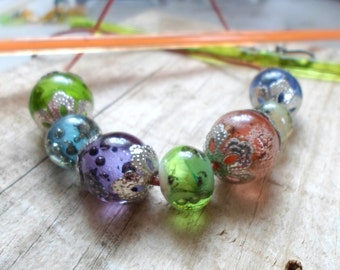 Glass Lampwork Necklace, Handmade Lampwork Bubble Beads, Handmade Necklace, Handmade Lampwork Jewelry Gift for Her