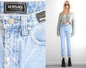 Versace Couture Jeans Boyfriend Jeans Distressed Jeans Skinny Jeans Vintage Jeans Versace Designer Womens High Waist Skinny Jeans waist 27