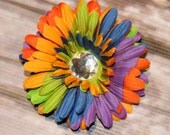 Rainbow Daisy Flower Rhinestone Hair Clip. Great for holidays, everyday, and special occasions