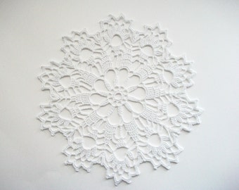 Crochet Doily White Cotton Lace with Scalloped Picot Edge Heirloom Quality