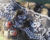Heart Earrings, Filigree Heart Earrings, Harlequin Opal Drop Earrings, Opal Earrings Valentine's Day Gift, Accessories, Prom Earrings