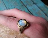 White Opal Ring, Vintage Ring, Opal Ring, Opal Earrings, Bird Earrings, Ring and Earrings Set, Easter gifts, Easter, Prom, Wedding