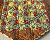 Gold Brown Quilted Table Runner Home Decor