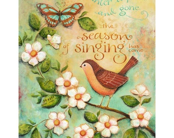 Season of Singing Bible Verse 8x10 or 11x14 Christian Inspirational Art Print with Sparrow  Winter is Over Song of Songs Religious