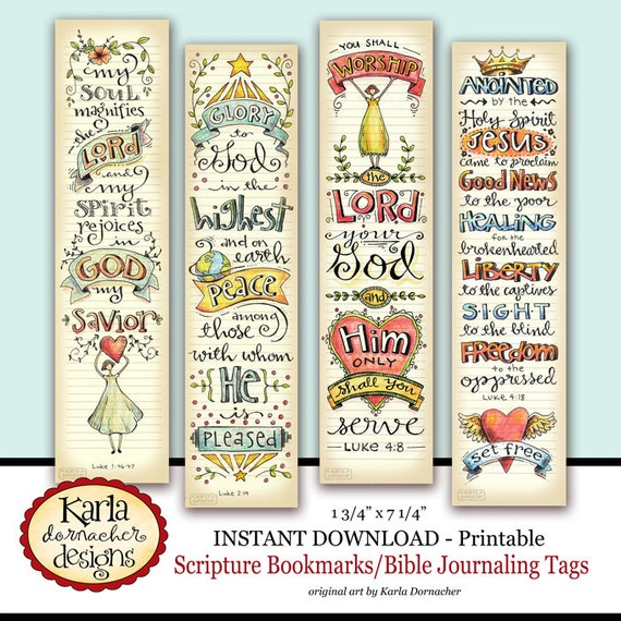 Bookmark Examples: Luke 1-4 Bible Bookmarks Bible Journaling Tags INSTANT