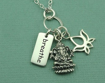 Ganesh - Gamesh Necklace - Sterling Silver Charm Necklace, Yoga Charms, Yoga Jewelry, Breathe, Lotus, Yoga Gifts, Buddhist Jewelry