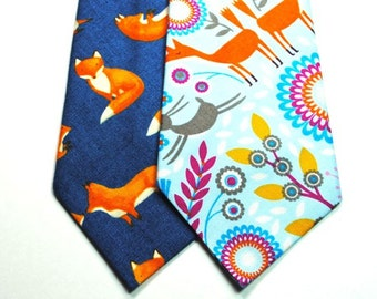 Fox Neckties Woodland Neckties Animal Neckties Wedding Neckties Custom Neckties, Navy Fox Neckties