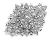"""GB80 Bridal Rhinestone Brooch Pin Silver Crystal Glass  2.5"""" (GB80-slcr)"""