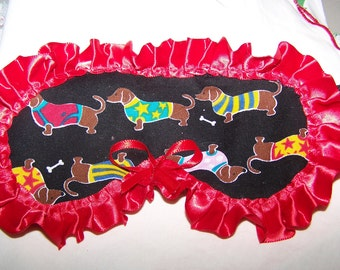 Dachsund Doxie Dog Animal Sleep Mask Day Sleeper Traveling Airplane Hospital Doxie Print With Red Ruffles Bow