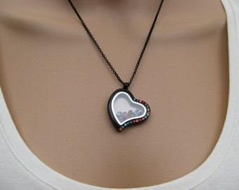 "Sale - Heart Locket Necklace, Crystal Jewels, 12 Colors - 18 inch Black Rolo Chain with 2"" extender"