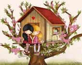 Our tree house, sisters wall art, twin girls art prints, art for girls room, playroom decor, nursery wall art, children illustration