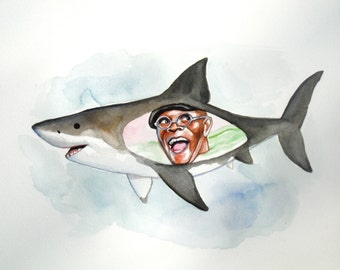 Samuel L Jackson inside the belly of a shark