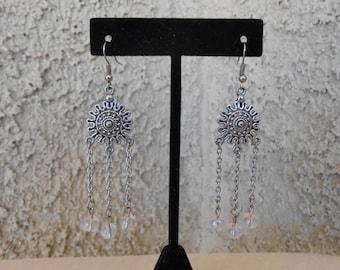 Rainbow Glass Chandelier Earrings
