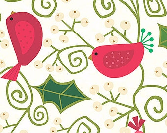 Evergreen Fabric by Andover Christmas Holiday Cute Pink Polka Dot Birds on White