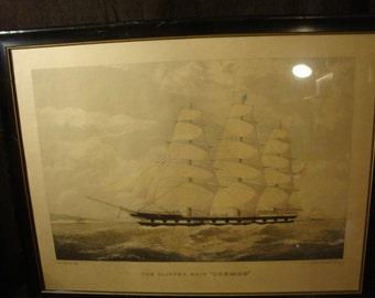 The Clipper Ship Cosmos engraving by E. Duncan