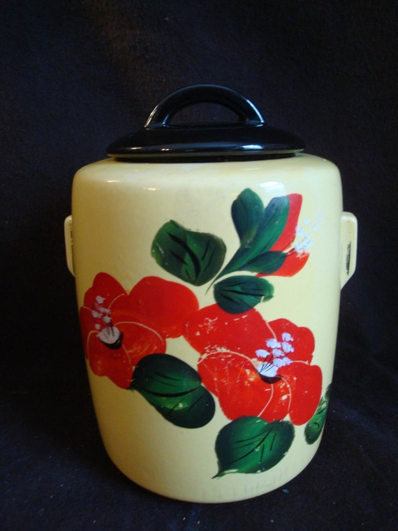 Vintage Mccoy Pottery Flower Deco Shape Cookie Jar