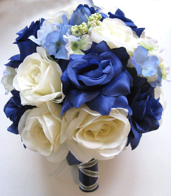 White And Gold Wedding Flowers: 17 Pcs Wedding Silk Flower Bouquet Bridal Package NAVY BLUE