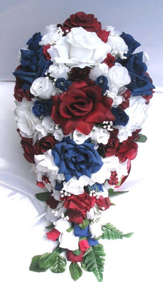 Wedding silk flowers bouquet bridal burgundy navy blue white