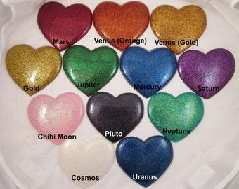 Super Sailor Scout Resin Flat Glitter Heart Bow Brooch Costume Cosplay Accessories Mercury Mars Jupiter Venus Chibi Moon Saturn Neptune