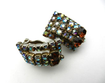 1950s Vintage  - AB crystals sparkling earrings - Italian retro elegance with lovely stones and perfection of design - Art.637/3 --