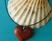 Valentine's Day RED HEART LOVE Pendant Hand Carved in Exotic Red Heart Wood