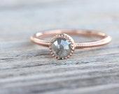 Rose Cut Gray Diamond Engagement Ring 14K Rose Gold Milgrain Detail Romantic Minimalistic Bridal - Love Bullet