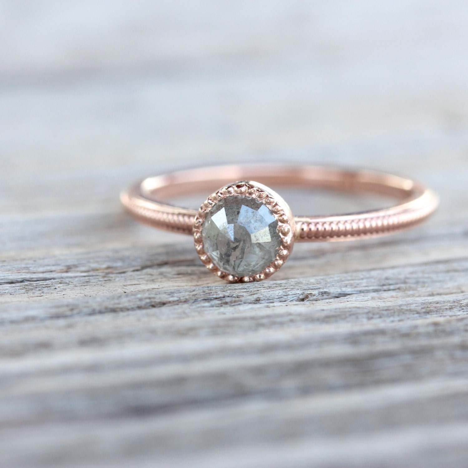 rose cut gray diamond engagement ring 14k rose gold milgrain