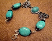 Turquoise Gypsy Filigree Silver Bracelet