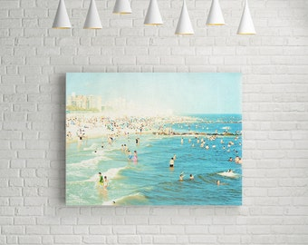 Large Beach Photogprahy // Canvas Print // Extra Large Canvas Wall Art // Sea Green Waves Roll Through This Large Coney Island Canvas Print