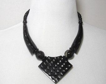 Vintage Ebony Necklace, Tribal Necklace, Ethnic Necklace, Black Necklace, Wood Necklace, Statement Necklace, Boho Necklace, Chunky Necklace