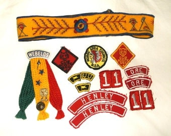 Vintage BOY SCOUTS Webelos Headband, Patches & Pins LOT